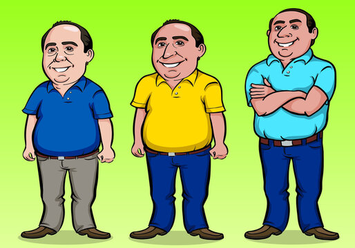 Set of character of friendly middle-aged man, bald and paunchy posing in cartoon style. Vector illustration.