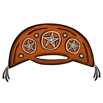 Drawing of a cangaceiro hat, a folkloric leather hat typical from northeast of Brazil, in comics style. Vector illustration.