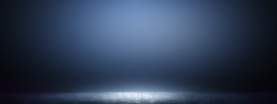 Blue ice floor texture with fog or mist. Snow and ice background. Gradient background