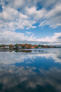 Autumn color and reflections at Moosehead Lake, in Greenville, Maine
