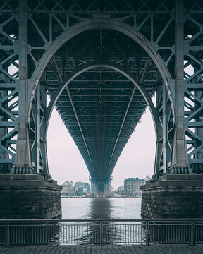 Under the arch of the Williamsburg Bridge, in the Lower East Side, Manhattan, New York City