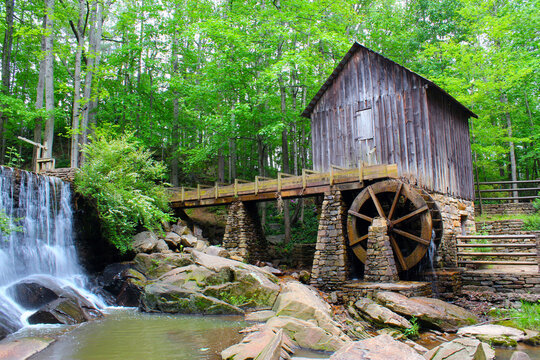 An historic mill near Marietta with green leafs in late spring.