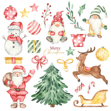 Snowman, santa claus, deer, christmas gnomes, sleigh, gifts, christmas decorations, christmas tree watercolor christmas clipart