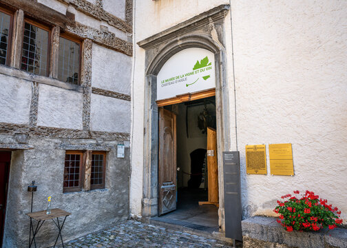 Entrance of viticulture and wine museum inside Aigle castle in Vaud Switzerland