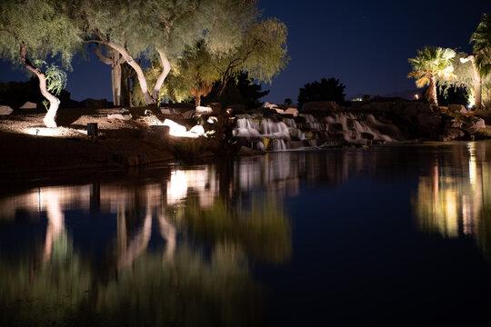 Golf course lake at night in Surprise, Arizona