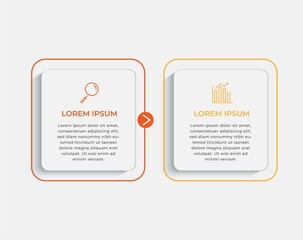 Fototapeta Minimal Business Infographics template. Timeline with 2 steps, options and marketing icons .Vector linear infographic with two circle conected elements. Can be use for presentation.  obraz