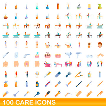 100 care icons set. Cartoon illustration of 100 care icons vector set isolated on white background