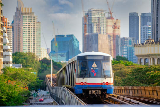 BANGKOK THAILAND-APRIL 12: BTS sky train is arriving to BTS Skytrain Ratchadamri station on April 12,2020 in Bangkok,Thailand.