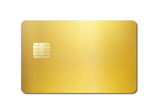 Gold credit card on a white background