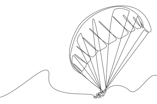 Single continuous line drawing of young tourist man flying with paragliding parachute on the sky. Extreme vacation holiday sport concept. Trendy one line draw design vector graphic illustration