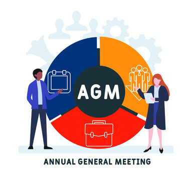 Flat design with people. AGM - Annual General Meeting acronym. business concept background. Vector illustration for website banner, marketing materials, business presentation, online advertising