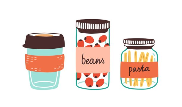 Colorful set of reusable containers with food ingredients and eco coffee cup isolated on white. Durable kitchenware made from sustainable materials. Vector illustration in flat cartoon style