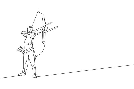 Single continuous line drawing of young professional archer man focus aiming archery target. Archery sport exercise with the bow concept. Trendy one line draw design vector graphic illustration