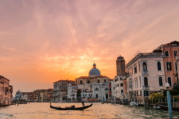 Beautiful scenery of Grand Canal in Venice, Italy at sunset