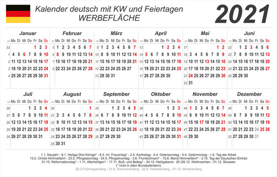 Kalender 2020 - weiß - quer - deutsch - mit Feiertagen (85 x 54 mm)