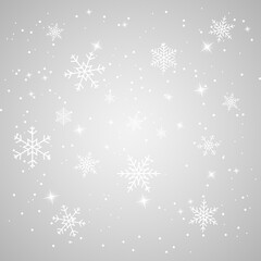 Fototapeta Falling Snow with Snowflakes and Stars. Christmas background. Winter background. Xmas illustration. Vector illustration