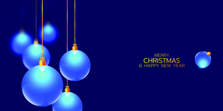 Merry Christmas and Happy New Year illustration. Winter holiday vector illustration. Festive composition with blue glass christmas balls