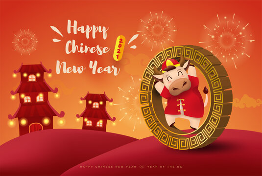 Happy Chinese new year 2021 Ox zodiac. Cute cow character in red costume.