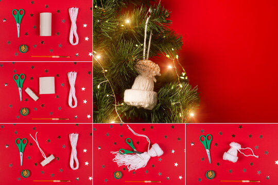 Step by step instruction for New Year or Christmas DIY concept. Make a cute hat for Christmas tree decoration