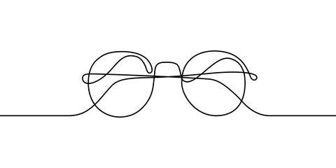 Glasses in continuous line art drawing style. Front view of eyeglasses minimalist black linear sketch isolated on white background. Vector illustration