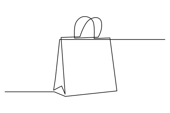 Shopping bag in continuous line art drawing style. Paper package minimalist black linear sketch isolated on white background. Vector illustration