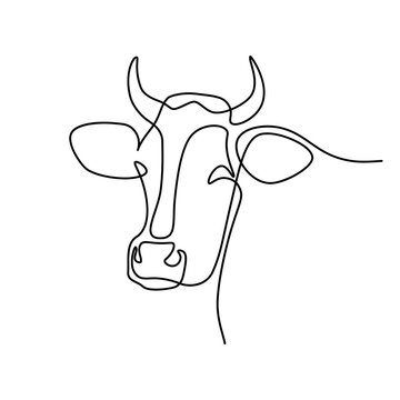 Cow head in continuous line art drawing style. Horned cow portrait minimalist black linear sketch isolated on white background. Vector illustration