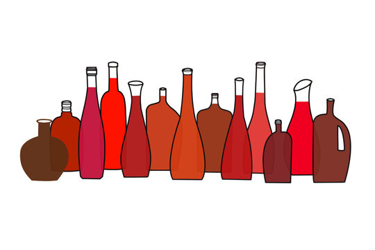 Colourful  beverage bottles lined up in a row, line art
