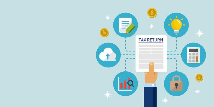 Tax return, submit tax document, tax form /cartoon banner illustration / no text