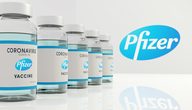 Guilherand-Granges, France - November 13, 2020. Covid-19 vaccine with Pfizer logo. American multinational pharmaceutical corporation.