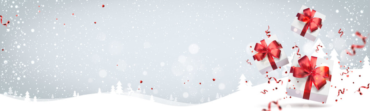 White Christmas gift boxes with red ribbons, bows, decoration, sparkles, confetti, bokeh on light Xmas background with landscapes. Merry Christmas and Happy New Year card. Realistic Vector, banner