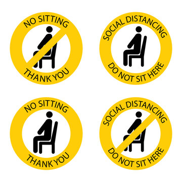 No sitting there. Forbidden seat. Keep social distance to prevent infection with the coronavirus. Do not sit here. Keep your distance when you are sitting. Man on the chair. Vector