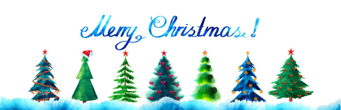 Merry Christmas watercolor background and fir trees with red stars isolated on white.