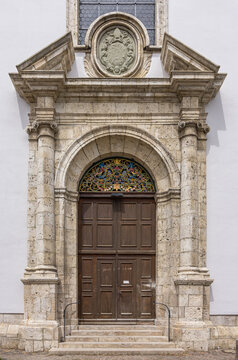 Konviktskirche Ehingen, Germany - Portal of the Konviktskirche (Dormitory Church) of Ehingen (Donau), Baden-Wurttemberg, Germany.