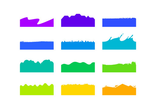 Vector Set of Template Dividers Shapes. Abstract Design Elements for Top and Bottom on Website, App, Banners or Posters