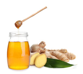 Ginger root and honey on white background