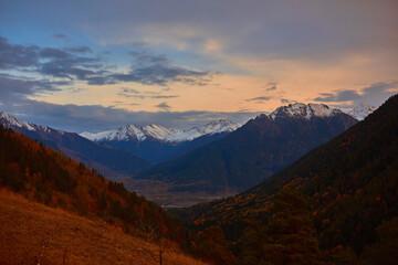 Caucasus mountains peaks nature landscape