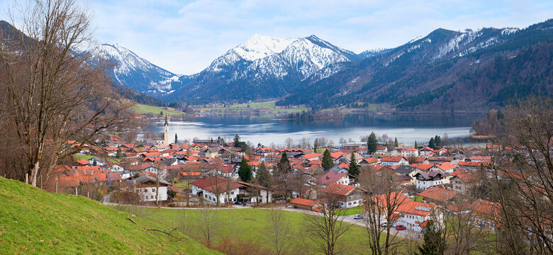 view from Unterriss to spa town and lake Schliersee at early springtime, bavaria