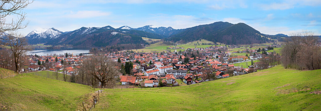view from Unterriss to health resort and lake Schliersee at early springtime, bavaria