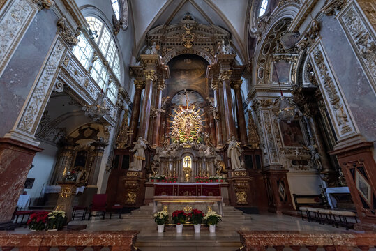 VIENNA, AUSTRIA - 07.02.2020: The Franciscans church interior, dedicated to St Hieronymus (St Jerome) was built 1611 in Renaissance style with a baroque interior added over the following century