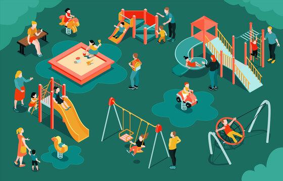 Isometric Children Playground Composition