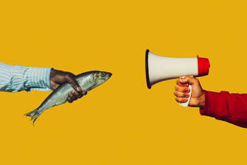 Fish talking. Modern art collage in pop-art style. Hands isolated on trendy colored background with copyspace, contrast. Modern design with copyspace for advertising. Trendy colors.