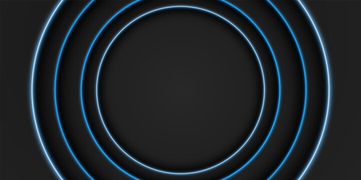 Abstract black frame background, circular overlap layer with blue light line, circle shape, dark minimal design with copy space, vector illustration