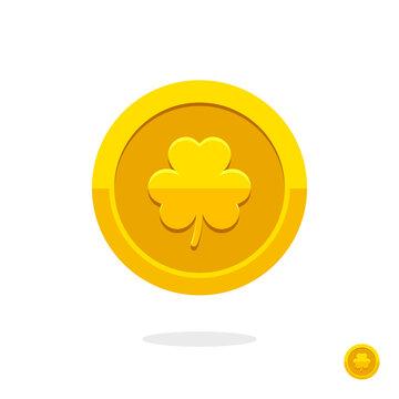 Golden leprechaun coin. Saint Patrick's Day golden coin. Coin icon. Money symbol. Golden coin with clover. St. Patrick's day symbol. Treasure sign. Golden leaf. Clover icon. Symbol of luck. Cash money