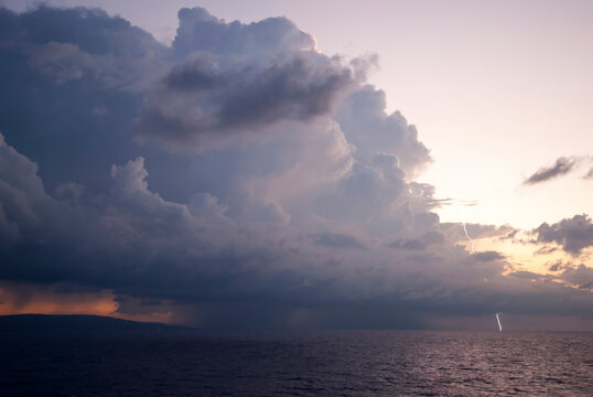 The Sunset Cloud With Lightning in Jamaica