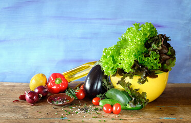 Fresh ingredients for salad,various vegetables,organic food, healthy eating concept, good copy space