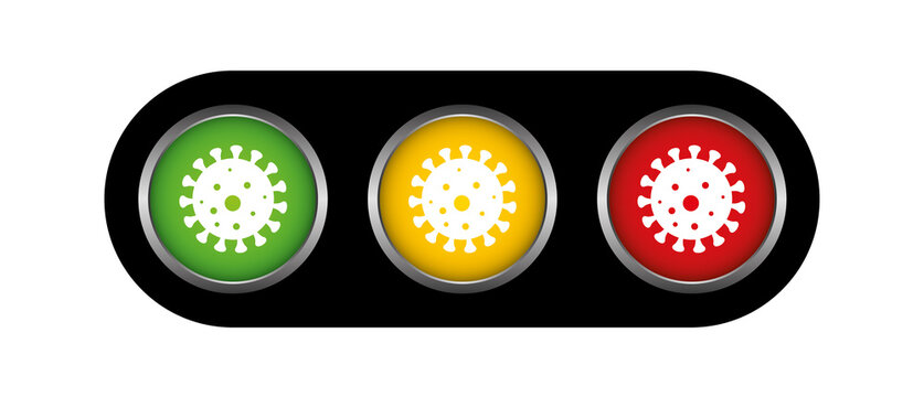 Corona Covid19 virus scale alert levels traffic light colors green yellow red, infection increase decrease warning
