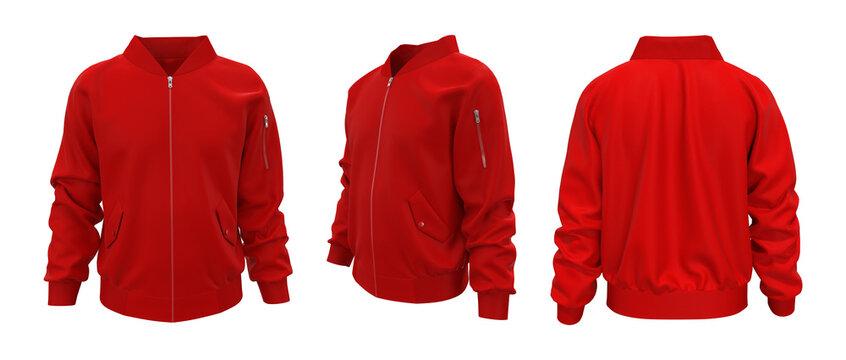 Red bomber jacket mockup in front, back and side views, design presentation for print, 3d illustration, 3d rendering