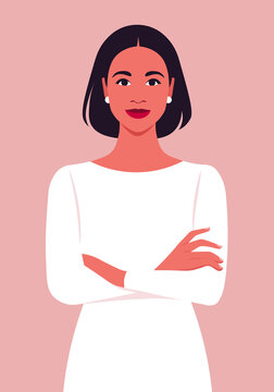 Portrait of a Hispanic woman with crossed arms. Office professions. Vector flat illustration.