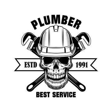 Plumbers skull vector illustration. Skeleton head in hardhat with crossed wrenches and best service text. Plumbing or job concept for emblems and labels templates