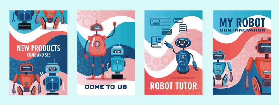 Robots show invitation flyers set. Humanoids, cyborgs, intelligent machines vector illustrations with come end see text. Robotics concept for posters or brochures design